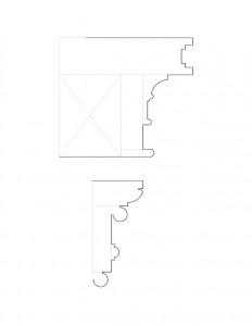 Line art of Peter Allen House cornice moulding profiles.
