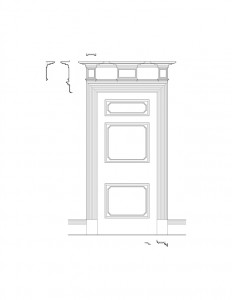 Line art of Peter Allen House interior door with curved top featuring panel molds, and window casing.