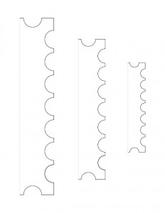 Several line art drawings of Peter Allen House moulding profile.