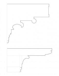 A couple line art drawings of Peter Allen House cornice mouldings.