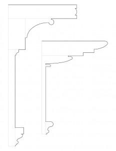 Line art drawings of two Peter Allen House cornice mouldings.