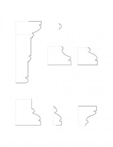 Many line art drawings of Peter Allen House moulding profiles.
