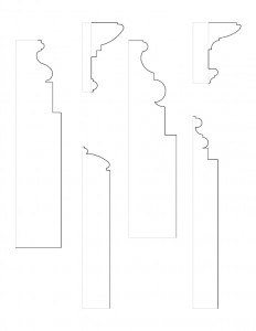 A multitude of line art drawings of Peter Allen House moulding profiles.