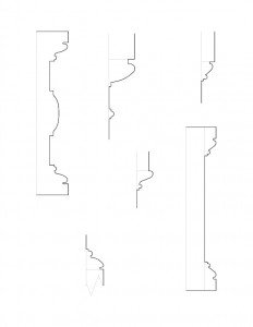 Many line art sketches of Peter Allen House moulding profiles.
