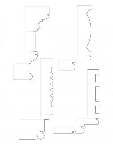 Line art sketches of Peter Allen House moulding profiles.