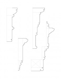 Line art drawings of Peter Allen House moulding profiles.