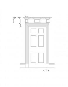 Line art of Peter Allen House interior doorway featuring panel molds.