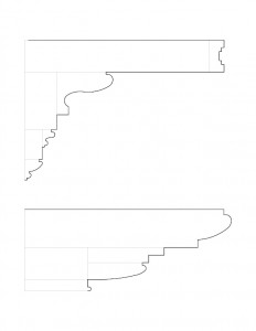 A couple of line art drawings and sketches of Peter Allen House moulding profiles.
