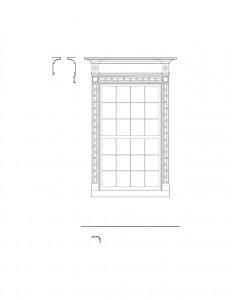 Line art of Peter Allen House window featuring window casing, cornice mouldings, and window trim.
