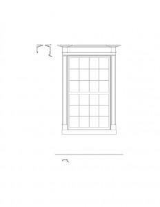 Line art of Peter Allen House window featuring window casing, and cornice mouldings.