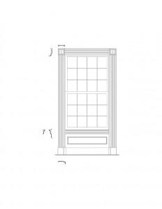 Line art of Peter Allen House window featuring window casing, cornice mouldings, panel molds, and window trim.