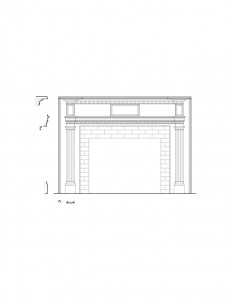 Line art of Peter Allen House fireplace featuring fireplace mantel mouldings, panel molds, and column detail on fireplace mantel.