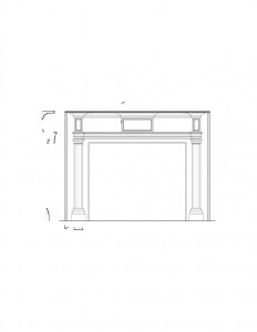 Line art of Peter Allen House fireplace featuring fireplace mantel mouldings, panel molds, and column detail.