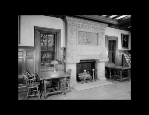 Interior of romanesque style building featuring fireplace mouldings, window mouldings, cornice and ceiling mouldings, and room ornaments.