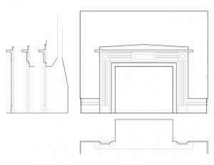 Fireplace mantle mouldings from the house in Scottsville, New York along with different views of each angle.