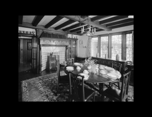 Interior of tudor style home with window mouldings, ceiling mouldings, and door mouldings.