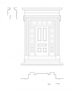 Line art of Hurst House doorway featuring steps to entrance, exterior cornice mouldings, windows with casing, and panel molds.