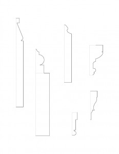 Several line art sketches of Hurst House moulding profiles.