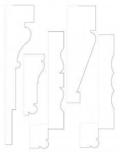 A multitude of line art sketches of Hurst House moulding profiles.