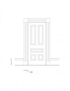 Line art of Hurst House interior door featuring door panel molds.