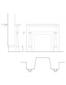 Line art of Hurst House fireplace mantel mouldings with column detail.