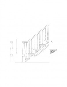 Line art of Hurst House staircase featuring newel post with cap, balusters, panel molds, and beautiful design patterns.