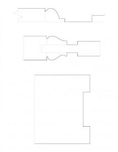 Line art of Hurst House moulding profiles.