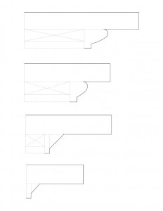 Many line art sketches of Hurst House moulding profiles.