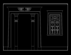 Line art image of a modern egytpian revival style wall elevation showcasing door mouldings and window mouldings.