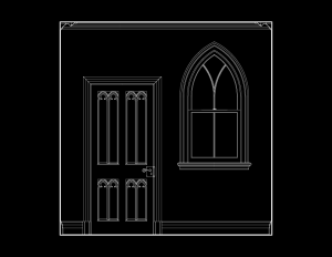 Line art of wall elevation featuring gothic revival style door mouldings and window mouldings.