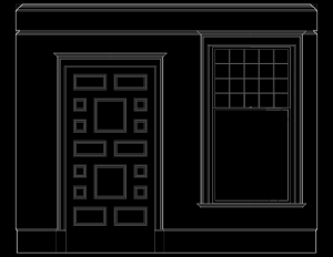 Line art of wall elevation featuring shingle style door mouldings, and window mouldings.