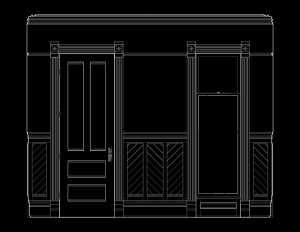 Line art of wall elevation featuring stick style door mouldings, and window mouldings.