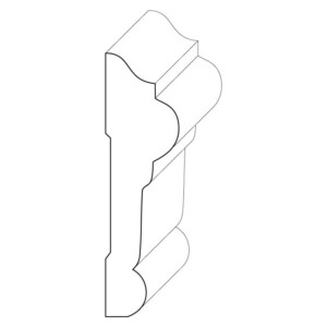 Wood chair rail moulding measuring 1 inch by 3 and 1/2 inches