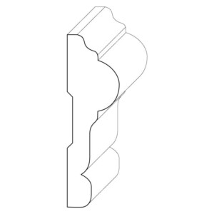 Wood chair rail moulding measuring 1 and 1/16 inches by 3 and 1/2 inches