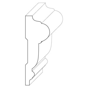 Wood chair rail moulding measuring 1 and 1/16 inches by 3 inches