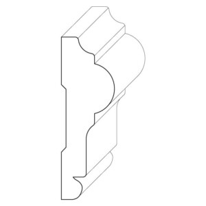 Wood chair rail moulding measuring 1 inch by 3 and 1/16 inches