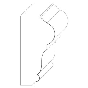Wood chair rail moulding measuring 1 and 1/2 inches by 3 inches