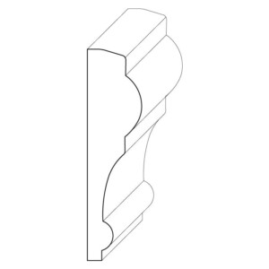 Wood chair rail moulding measuring 3/4 inches by 3 inches