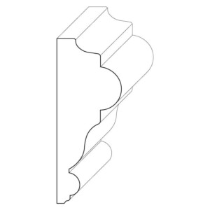 Wood chair rail moulding measuring 1 and 1/8 inches by 2 and 15/16 inches