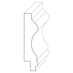 Wood chair rail moulding measuring 11/16 inches by 3 inches