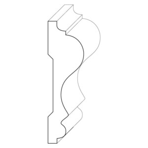 Wood chair rail moulding measuring 1 and 1/4 inches by 4 and 1/4 inches