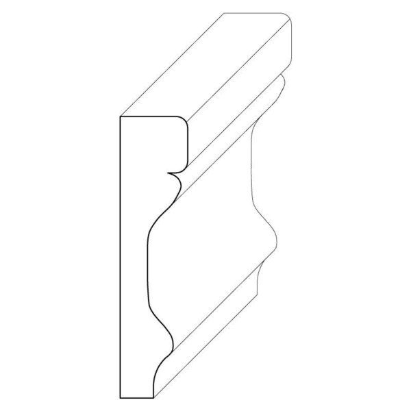 Wood chair rail moulding measuring 3/8 inches by 1 and 9/16 inches